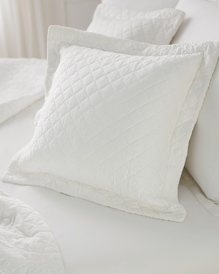 Luxe Quilted Pillow Sham Ivory