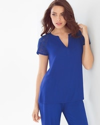 Embraceable Cool Nights Popover Pajama Top Jewel Blue