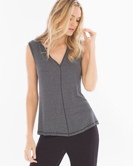 Midnight by Carole Hochman Lounge Top Black/Stone Heather Stripe