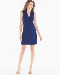 Leota Knot-Front Sleeveless Short Dress Navy