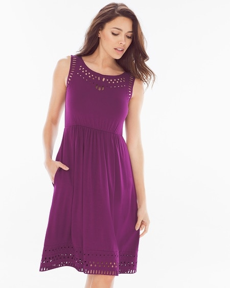Cutwork Sleeveless Dress Henna Plum