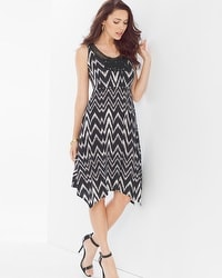 Soutache Sleeveless Short Dress Arch Ikat Mini Black