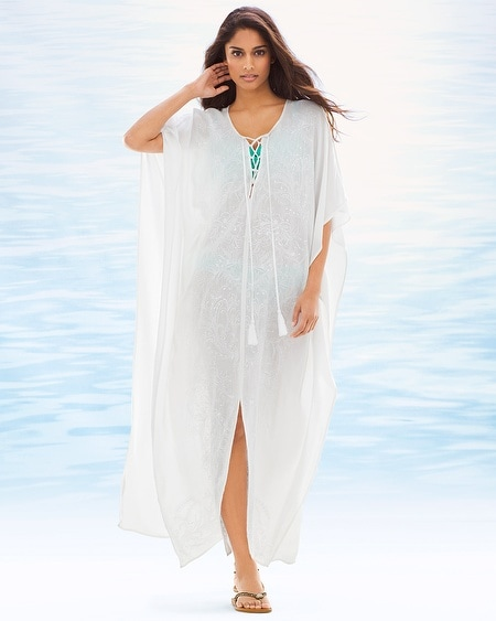Embroidered Long Caftan Cover Up
