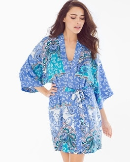 In Bloom Portugal Short Robe Cornflower/Ivory
