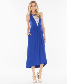 High-Low Hem Midi Dress Jewel Blue