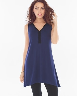 Live. Lounge. Wear. Soft Jersey Crochet Trim Sleeveless Tunic Navy
