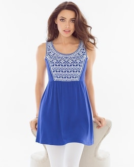 Live. Lounge. Wear. Soft Jersey Embroidered Tunic Jewel Blue