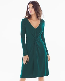Leota Charlotte Long Sleeve Knit Dress Hunter