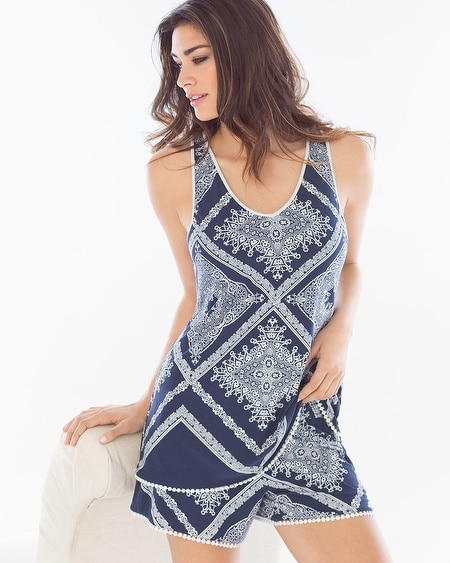 Crochet Sleep Tank Lacework Navy