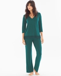 Midnight by Carole Hochman Lace Trim Pajama Set Green