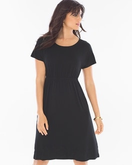 Embroidered Short Black Dress