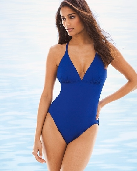 Island Goddess Strappy Back One Piece Swimsuit Blueberry