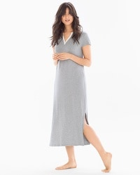 Cool Nights Long Sleepshirt Little Dot Heather Silver