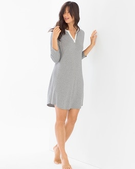 Cool Nights Oversized Sleepshirt Little Dot Heather Silver
