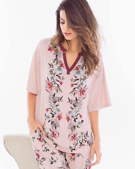 Pop Over Pajama Top Fancy Floral Scarf Pink