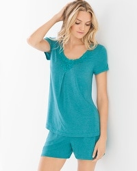 Cool Nights Pop Over Short Sleeve Pajama Top Heather Pagoda