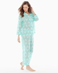 Natori Batik Cotton Pajama Set Seafoam