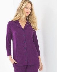 Cool Nights 3/4-Sleeve Notch Collar Pajama Top Mod Dot Warm Plum