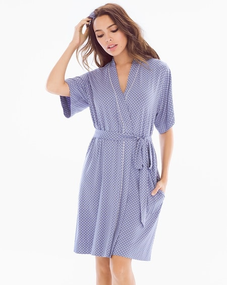 Short Robe Mod Dot Blue Chill