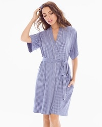Cool Nights Short Robe Mod Dot Blue Chill
