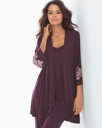 Cool Nights Pajama Cardi Wrap Robe Luscious Lace Border Marsala