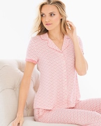 Cool Nights Notch Collar Pajama Top Dynamic Dot Ivory