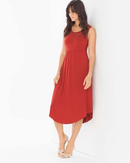 Scarf-Hem Midi Dress Cinnabar