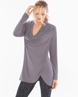 Live. Lounge. Wear. Draped-Front Tunic Excalibur Grey