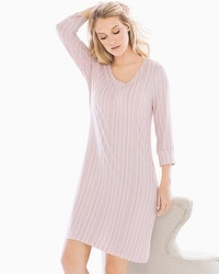 Cool Nights 3/4 Sleeve Sleepshirt Finespun Stripe Pink