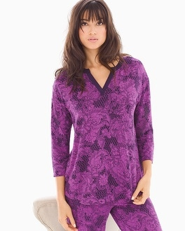 Cool Nights 3/4 Sleeve Pop Over Top Mademoiselle Rio Plum Black