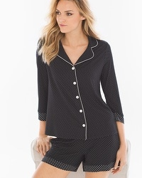 Cool Nights Notch Collar Pajama Top Little Dot Black