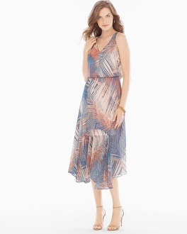 London Times Chiffon Midi Dress Blue/Peach