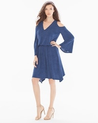 London Times Blouson Knit Short Dress Denim Blue