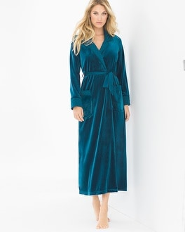 Jonquil Peacock Long Velvet Robe