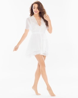 Jonquil Windsong Bridal Chiffon and Lace Short Robe Ivory