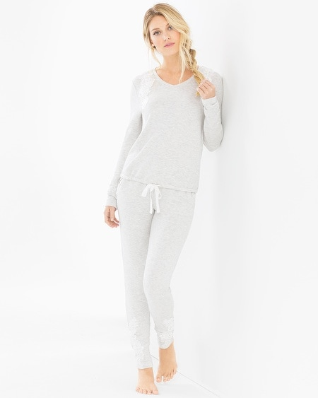 Ivy Cozy Pullover and Pants Pajama Set Light Heather Gray