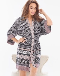 In Bloom Wayside Short Robe Wrap Blush Pink/Black