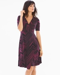 Elbow Sleeve Faux Wrap Short Dress Lagoon Marsala