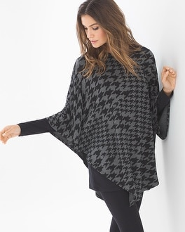 Live. Lounge. Wear. Divine Terry Angled Poncho Houndstooth Mix Heather Quarrtz