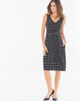 Fit and Flare Sleeveless Short Dress Houndstooth Mix Heather Quartz