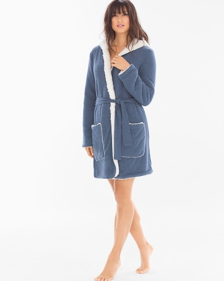 Cozy Lounge Faux Sherpa Hoody Short Robe Navy Heather