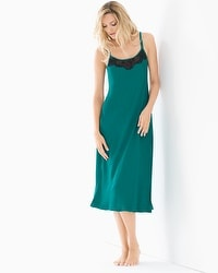Satin and Lace Tea Length Nightgown Green Envy