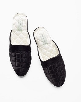 Patricia Green Jackie Slipper Black With Ivory Lining