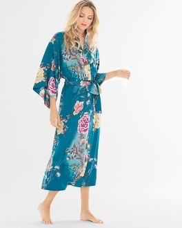 Natori Serene Printed Charmeuse Long Robe Seaport Blue