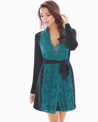 Samantha Chang Home Lace Robe Black