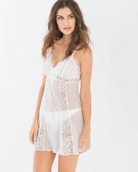 Embroidered Chiffon and Lace Babydoll with Panty