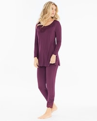 Oh My Gorgeous Tunic Pajama Set Merlot