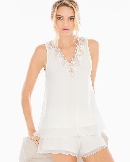 Metallic Embroidered Chiffon Pajama Tank