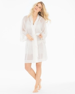 Embroidered Chiffon Short Robe