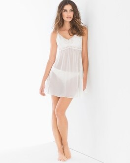 Metallic Embroidered Chiffon Babydoll With Panty